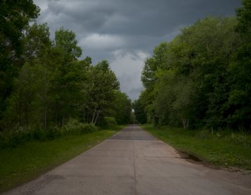 This road was lined with homes before the town of Odanah, Wis. moved to higher ground. (Joe Proudman/UC Davis)