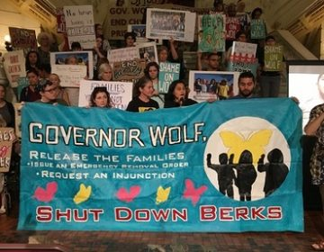 Protesters gathered in the Capitol to call on Wolf for further action. (Katie Meyer/WITF)