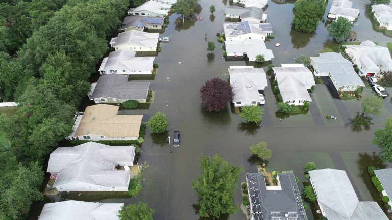 Houses inundated in Brick Township's Greenbriar I senior community. (Brick Township Police Department)
