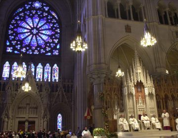 Inside the Cathedral Basilica of the Sacred Heart in Newark, N.J., Tuesday, Oct. 9, 2001. (AP Photo/Mike Derer)