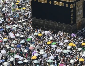 Muslim pilgrims perform the farewell circling of the Kaaba, marking the end of Hajj pilgrimage in the Muslim holy city of Mecca, Saudi Arabia, Sunday, Sept. 3, 2017. (AP Photo/Khalil Hamra)