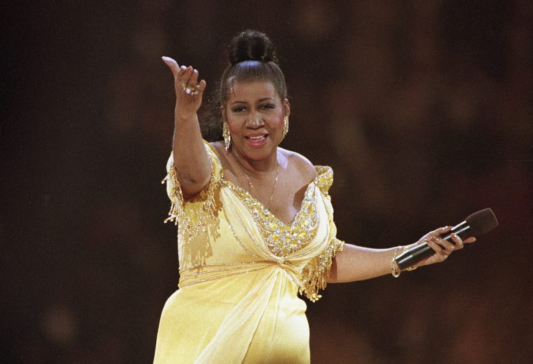 In this Jan. 19, 1993 file photo, singer Aretha Franklin performs at the inaugural gala for President Bill Clinton in Washington. Franklin died Thursday, Aug. 16, 2018, at her home in Detroit. AP Photo/Amy Sancetta, File)