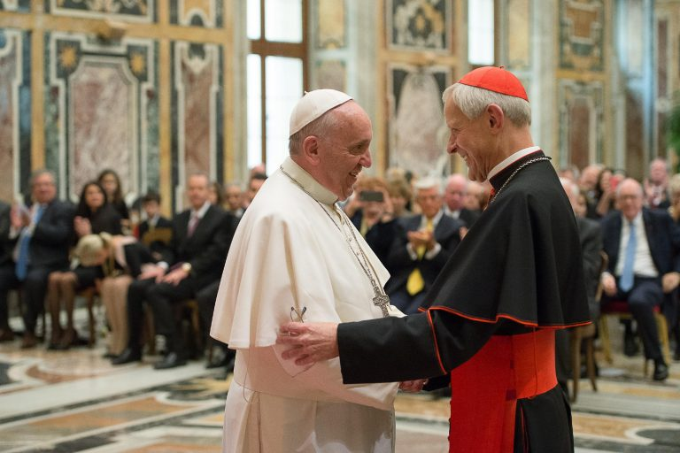 In 2015, Francis, left, talks with Cardinal Donald Wuerl. After serving in Pittsburgh, Wuerl now leads the Archdiocese of Washington, D.C. (L'Osservatore Romano/Pool Photo via AP)