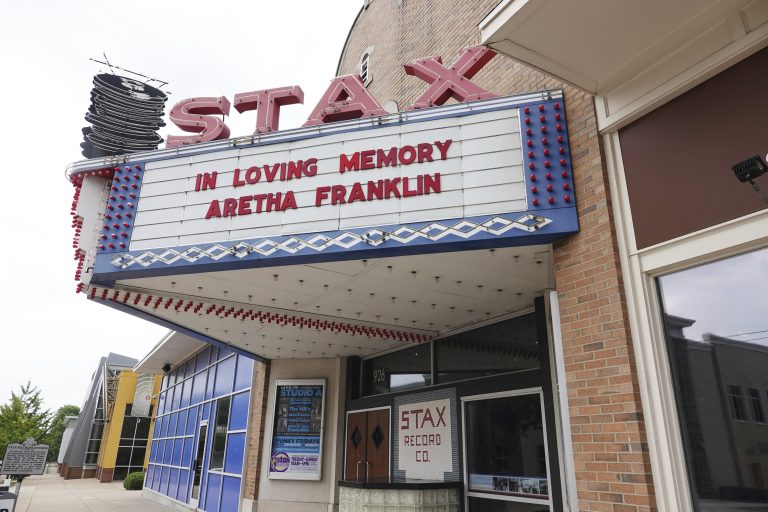 Stax Museum remembers Aretha Franklin. Stax is just a short distance away from the home where Aretha Louise Franklin was born on March 25, 1942 in Memphis, Tenn. Franklin died early Thursday. (AP Photo/Karen Pulfer Focht)