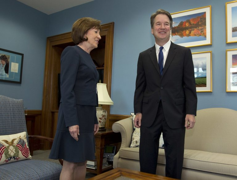 Sen. Susan Collins, R-Maine, meets with Supreme Court nominee Judge Brett Kavanaugh in her office, before a private meeting on Capitol Hill in Washington on Tuesday, Aug. 21, 2018. (Jose Luis Magana/AP Photo)