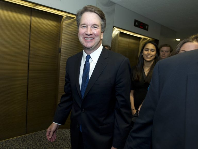 Supreme Court nominee Judge Brett Kavanaugh leaves the office Sen. Claire McCaskill, D-Mo., after a meeting on Capitol Hill in Washington, Tuesday, Aug. 21, 2018. (Jose Luis Magana/AP Photo)