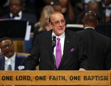 Record producer Clive Davis speaks during the funeral service for Aretha Franklin at Greater Grace Temple, Friday, Aug. 31, 2018, in Detroit. Franklin died Aug. 16, 2018 of pancreatic cancer at the age of 76. (AP Photo/Paul Sancya)