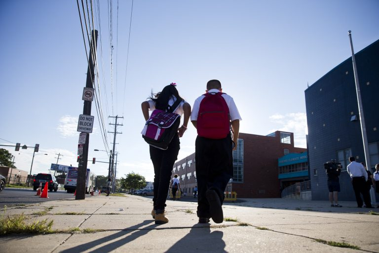 Students walk to school in Philadelphia. (AP file photo)