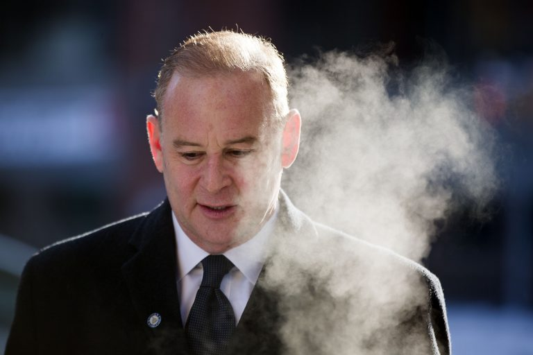 Former elected Pennsylvania state treasurer Rob McCord arrives at the U.S. District Court in Harrisburg, Pa., on Tuesday, Feb. 17, 2015. McCord resigned as treasurer Jan. 30 amid an agreement with federal prosecutors to plead guilty to two counts of extortion stemming from allegations that he used his position as treasurer to try to strong arm potential donors into contributing money to his failed gubernatorial campaign during last spring's Democratic primary.  (AP Photo/Matt Rourke)