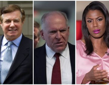 from left to right; Paul Manafort, John Brennan, Omarosa Manigault-Newman