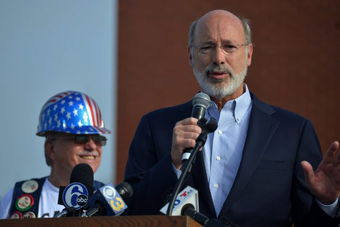 Governor Tom Wolf speaks at the annual Labor Day Parade on Columbus Boulevard, on Monday. (Bastiaan Slabbers for WHYY)