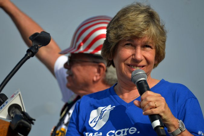 AFT President Randi Weingarten speaks at the annual Labor Day Parade on Columbus Boulevard, on Monday. (Bastiaan Slabbers for WHYY)