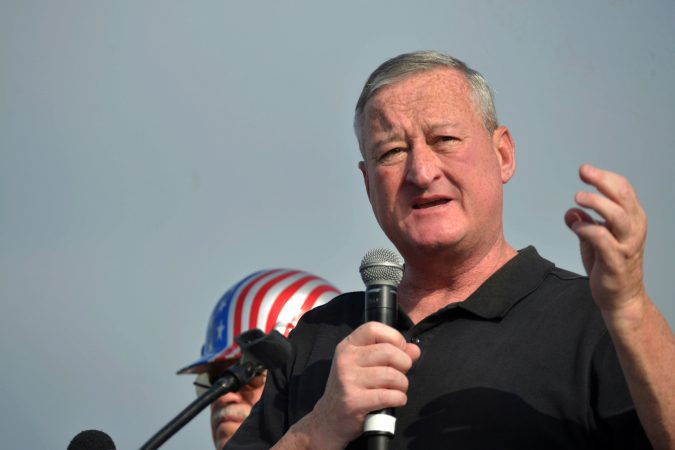 Mayor Jim Kenney speaks at the annual Labor Day Parade on Columbus Boulevard, on Monday. (Bastiaan Slabbers for WHYY)
