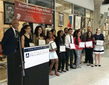 Students who earned AP Capstone honors gathered with Superintendent William Hite and other dignitaries at a ceremony on Tuesday. (Dale Mezzacappa/The Notebook)