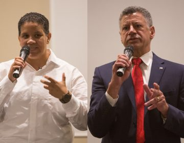 Two of of the four Delaware U.S. Senate primary candidates, Democrat Kerri Evelyn Harris, (left), and Republican Gene Truono, (right), met for a debate in Hockenssin, Delaware, in front of over 100 constituents on Aug. 20, 2018. (Emily Cohen for WHYY)