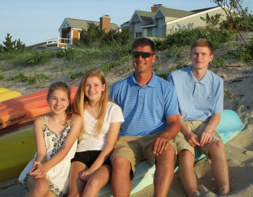 From left, Megan, Abby, Chris, and Brendan Leach vacationed in Lewes two months before he and two other firefighters died battling a Wilmington blaze. (Courtesy of Leach family)