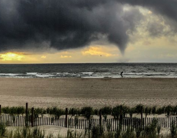 A waterspout off Ship Bottom, Long Beach Island shortly before 7 a.m. Monday. (Image: David Buhan Jr. - @perilous_drone/Instagram)