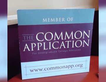 Common Application sign in a Pa. college's admissions office (Wikimedia)