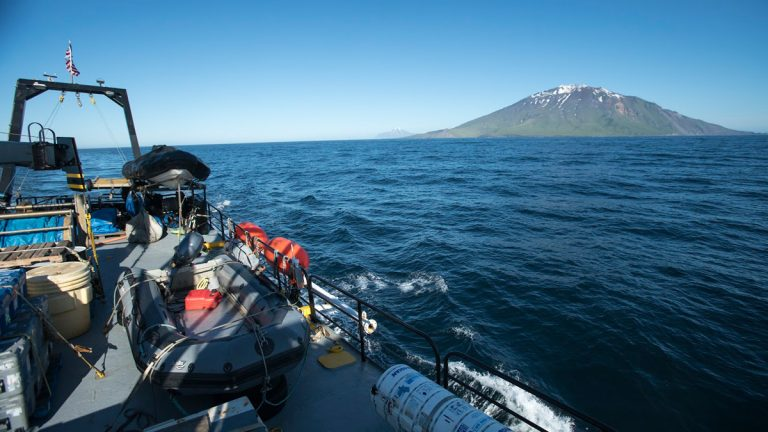 Project Recover searches for the stern of the USS Abner Read near Kiska, Alaska, in July. (Project Recover)