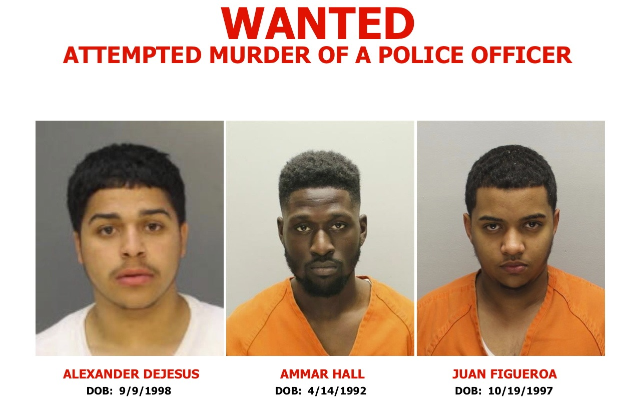 Police say (from left) Alexander Dejesus, Ammar Hall and Juan Figueroa are responsible for the shooting of two undercover Camden detectives as they sat in their unmarked car at a red light.