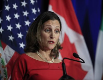 Canadian Minister of Foreign Affairs Chrystia Freeland speaks during negotiations for a new North American Free Trade Agreement in October.