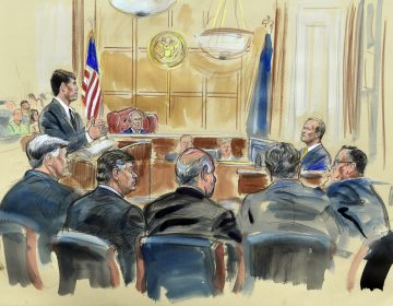 This courtroom sketch depicts Rick Gates (right) answering questions by prosecutor Greg Andres as he testifies in the trial of Paul Manafort in Alexandria, Va. (Dana Verkouteren/AP)