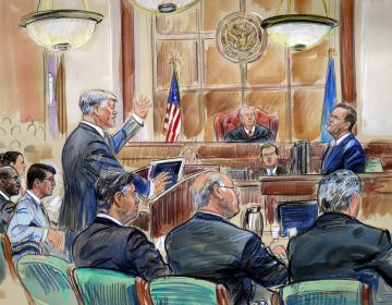 This courtroom sketch depicts defense lawyer Kevin Downing questioning Rick Gates, as former Trump campaign chairman Paul Manafort listens. (Dana Verkouteren/AP)