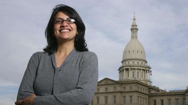 Rashida Tlaib, pictured in 2008 outside the Michigan Capitol in Lansing, Mich., served as a state legislator for six years. On Tuesday, Democrats picked her to run unopposed for the congressional seat that former Rep. John Conyers held for more than 50 years. Tlaib would be the first Muslim woman in Congress. (Al Goldis/AP)