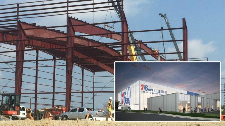 Construction is under way at the 76ers Fieldhouse in Wilmington, which the developer says will also serve as a training center for elite youth athletes and offer athletic, educational and leadership programs for poor city children. (Cris Barrish/WHYY. Inset courtesy of Buccini/Pollin Group)