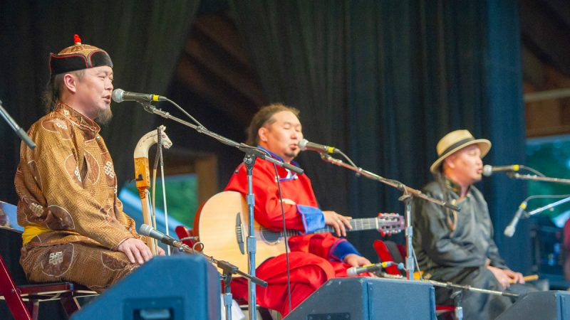 Tuvan throat singers Alash performed at the Saturday evening show. (Jonathan Wilson for WHYY)