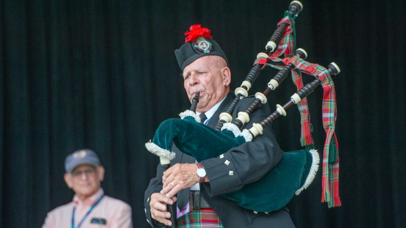 Bagpipe master Dennis Hangey performed at the opening of the evening concerts on the Martin Main Stage. (Jonathan Wilson for WHYY)