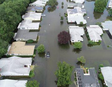 Flooding in Brick, NJ near the Greenbriar senior community on Monday (Brick Police Department photo)