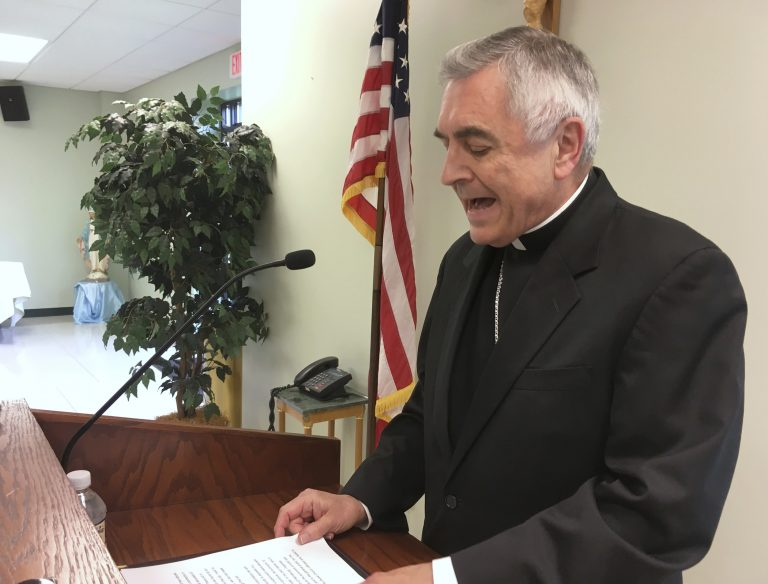 Bishop Ronald Gainer of the Diocese of Harrisburg discusses child sexual abuse by clergy during a news conference. Harrisburg is the second Pennsylvania diocese under investigation to release names of clergy accused of abuse before the grand jury report will be made public in August 2018. (AP Photo/Mark Scolforo)