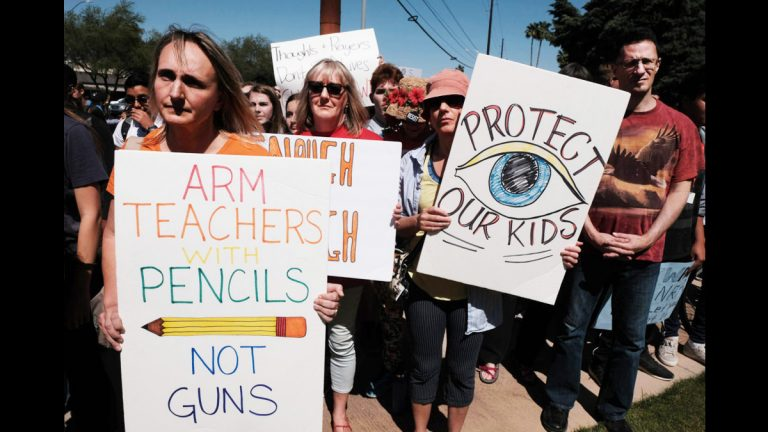 A protest against gun violence on the 19th anniversary of the Columbine massacre, in which 12 students and a teacher were gunned down in a Colorado school in 1999. (Christopher Brown/ZUMA Wire/ZUMAPRESS.com)
