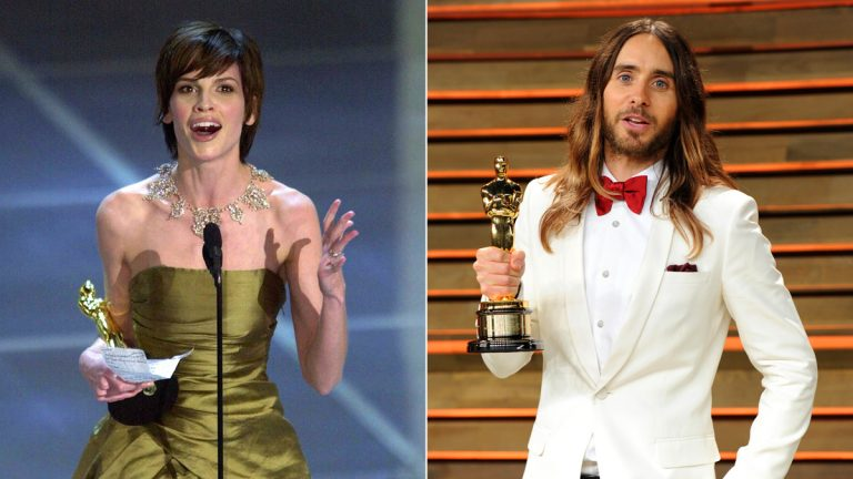 In this combination photo, Hilary Swank accepts the Oscar for best actress for her role in