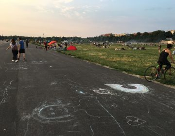 Thousands of Berliners come to Tempelhof on warm summer evenings, but there's always room for more. (Martin Kaste/NPR)