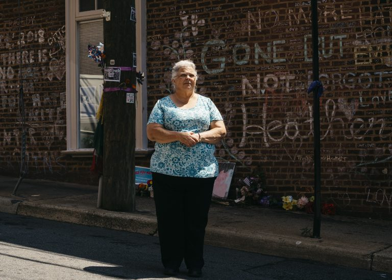 Susan Bro stands on 4th Street SE in Charlottesville, Va., where where her daughter Heather Heyer was killed. Heyer died in August 2017 during a violent white nationalist rally. (Justin T. Gellerson for NPR)