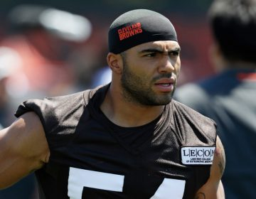 """In this July 26, 2018, file photo, Cleveland Browns' Mychal Kendricks is shown during an NFL football training camp in Berea, Ohio. Federal prosecutors in Philadelphia say Cleveland Browns linebacker Mychal Kendricks used insider trading tips from an acquaintance to make about $1.2 million in illegal profits on four major trading deals. Kendricks says in a statement released by his lawyer Wednesday, Aug. 29, 2018, that he's sorry and """"deeply"""" regrets his actions.(AP Photo/Tony Dejak, File)"""