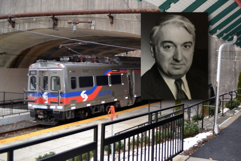 Louis J. Gambaccini died on Aug 19. (Insert, Hillsborough Funeral Home; background, SEPTA)