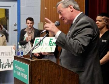 Mayor Jim Kenney, in March 2016, pitching the beverage tax as key to paying for his Rebuild initiative. (PlanPhilly)