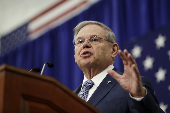 U.S. Sen. Bob Menendez speaks during an event kicking off his campaign for re-election at Union City High School, Wednesday, March 28, 2018, in Union City, N.J. (AP Photo/Julio Cortez)