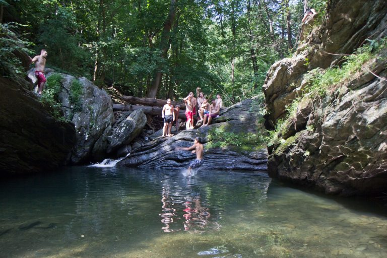 Devil's Pool is hidden away in Wissahickon Valley Park, but most locals know how to find it. (Kimberly Paynter/WHYY)