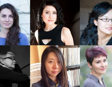 The Philadelphia Orchestra will hold a workshop featuring the music of six women composers.  Top row:  Eötvös, Hilary Purrington,  Xi Wang. Bottom row: Robin Holcomb, Chen-Hui Jen, and Nina C. Young. (Photo courtesy of the Philadelphia Orchestra)