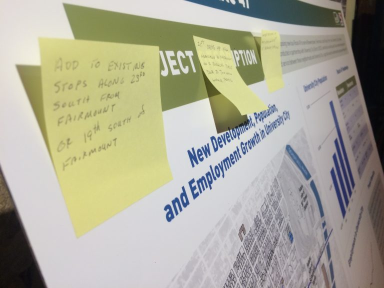 A poster board with residents' comments at SEPTA's Route 49 open house last year. (Jim Saksa/WHYY News)
