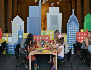 Families gather in the Great Stair Hall at the Philadelphia Museum of Art for ArtSplash.