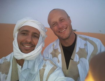 Former Guantanamo guard Steve Wood, right, flew to Mauritania this spring to visit Mohamedou Ould Slahi — the detainee he once spent his days guarding. Slahi was released from Guantanamo in 2016. (Courtesy of Mohamedou Slahi)