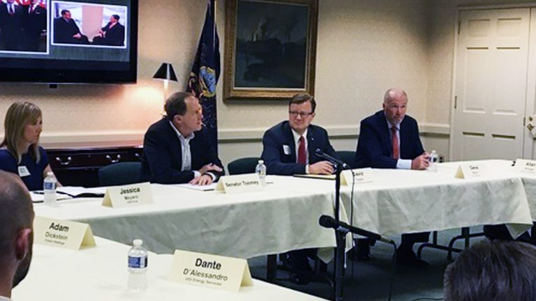 Toomey made an appearance at the Pennsylvania Manufacturer's Association to talk trade with PA business owners. (Katie Meyer/WITF)