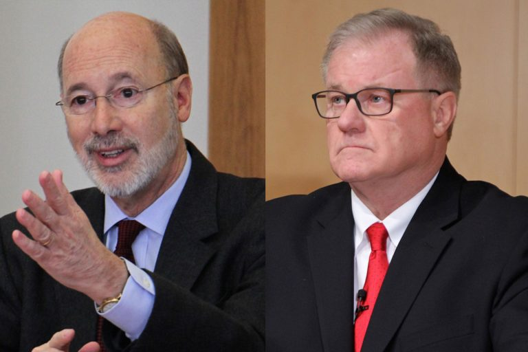 Gov. Tom Wolf (left) and Scott Wagner (Emma Lee/WHYY)
