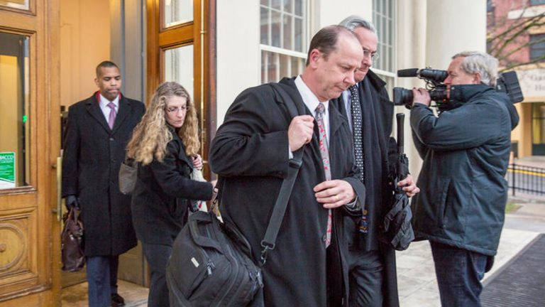 Jim and Evelyn Piazza left the courthouse with their lawyers after hearing closing statements for the second preliminary hearing for the hazing case resulting in the death of their son, Tim Piazza, in March. (Min Xian/ WPSU)