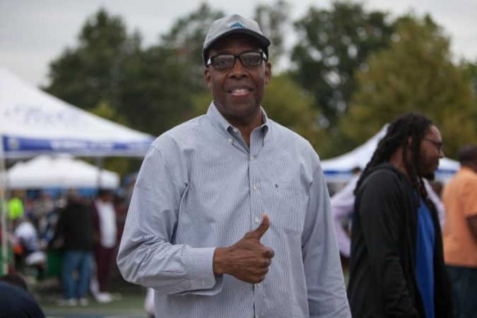 Philadelphia City Council President Darrell Parke visits his constituents at Strawberry Mansion Day. (Emily Cohen for WHYY)